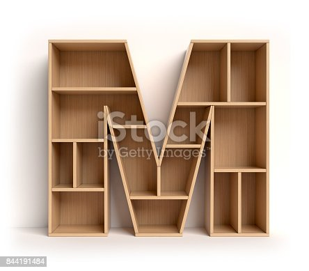 844515966 istock photo Shelf font letter M 844191484