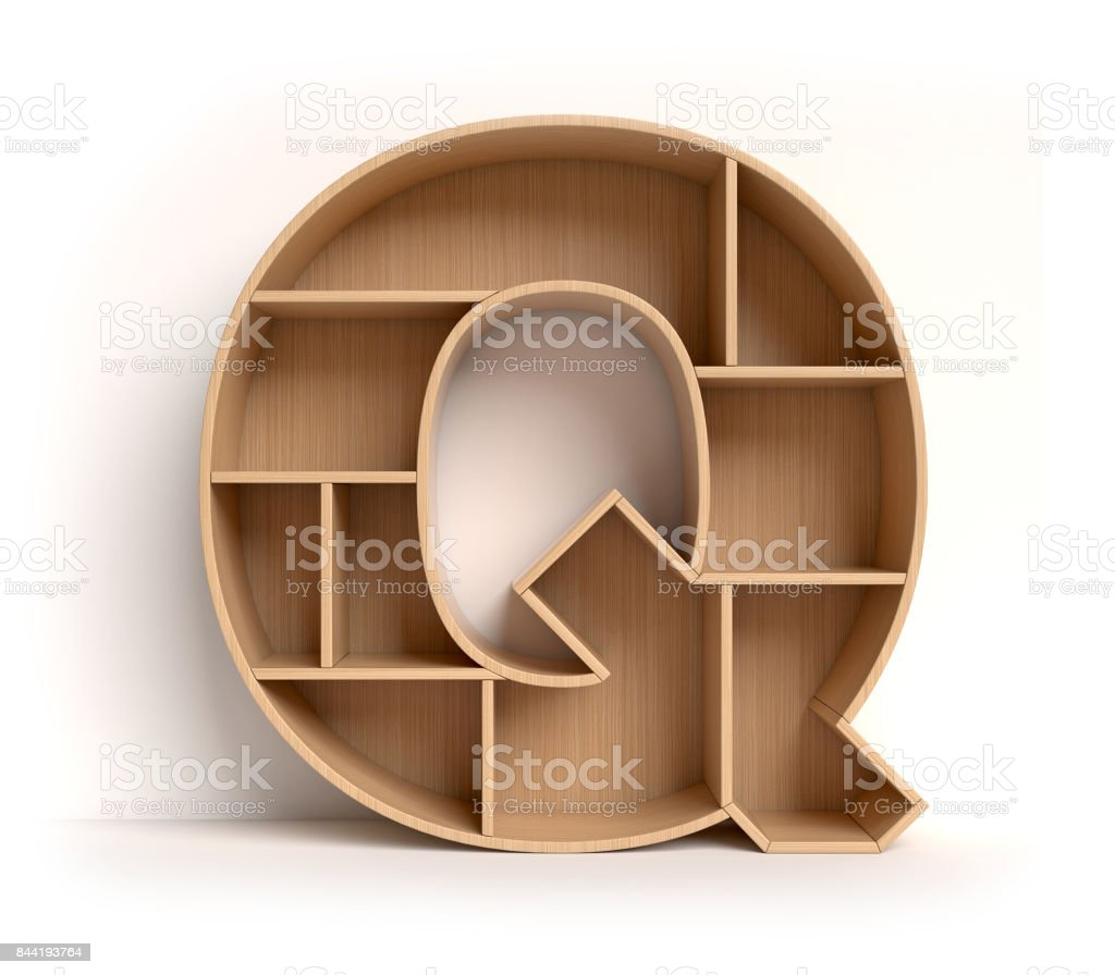Shelf font letter Q stock photo