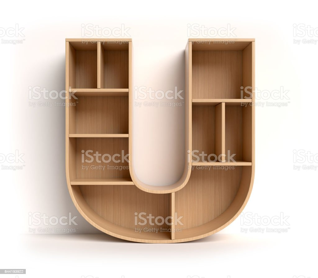 Shelf font letter U stock photo