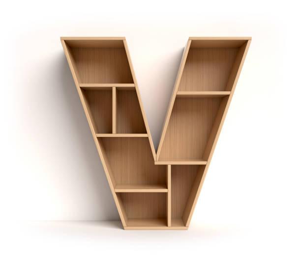 Shelf font letter V Shelf font 3d rendering letter V letter v stock pictures, royalty-free photos & images