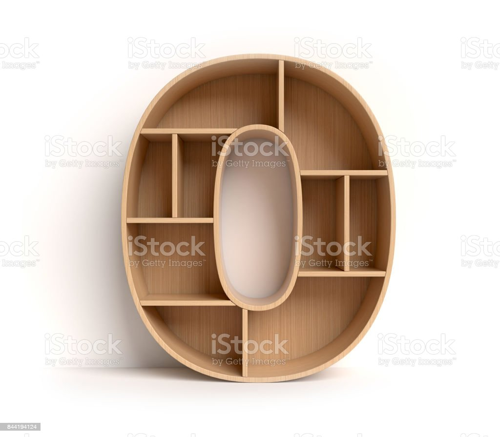 Shelf font number 0 stock photo