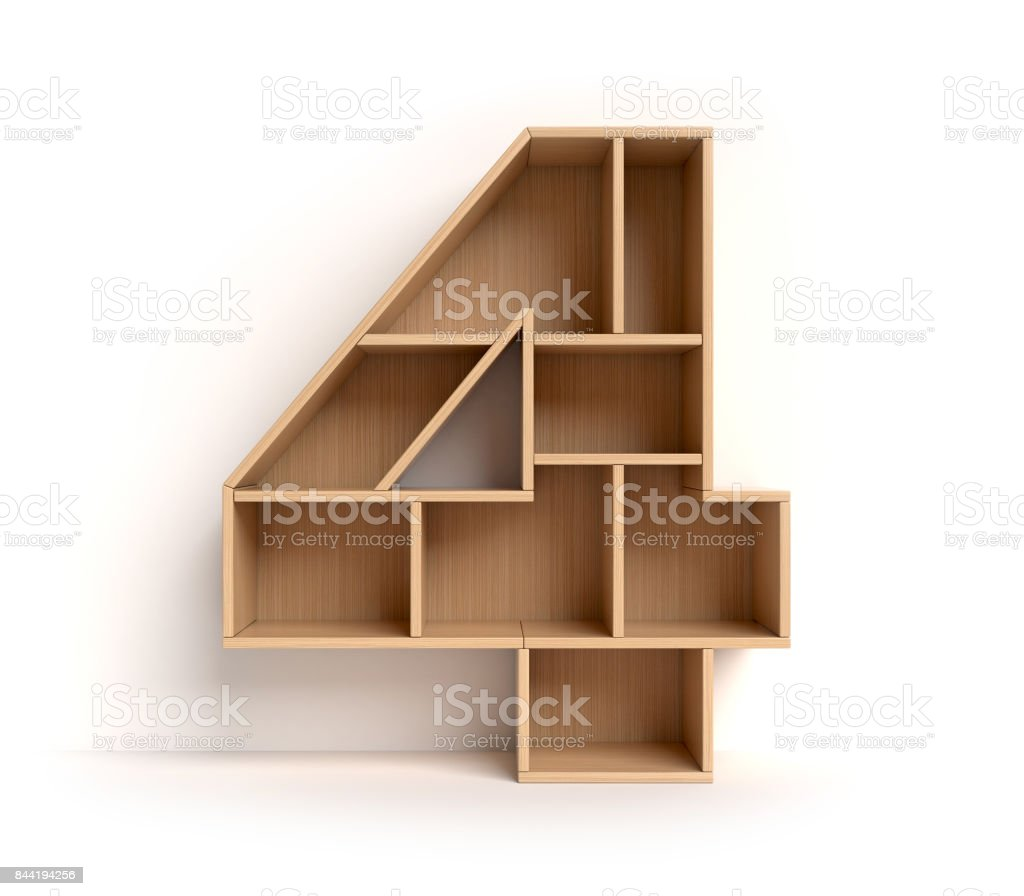 Shelf font number 4 stock photo