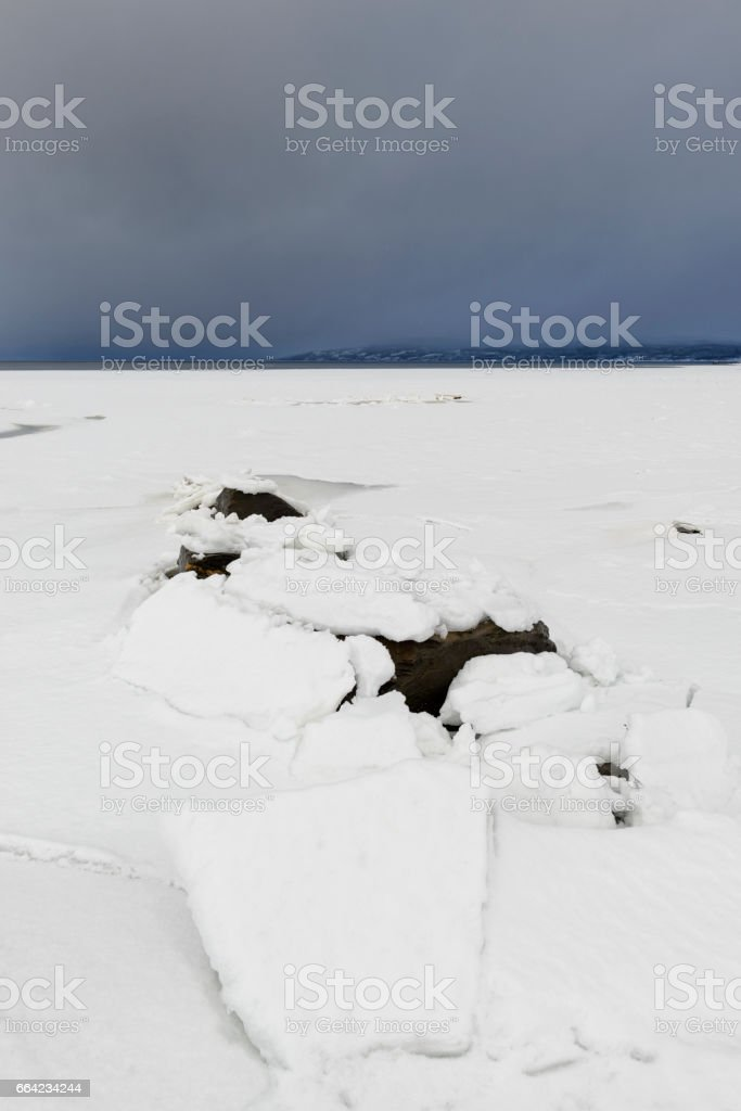 Shelf ice on a Fjord shore in winter in Northern Norway stock photo