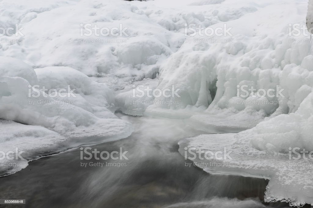 Shelf ice with flowing water in winter in Northern Norway stock photo