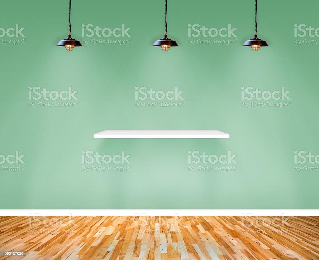 Shelf on wall in Show Room. – Foto