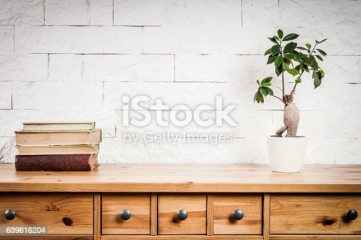 istock shelf with books and flower and white wall 639616204