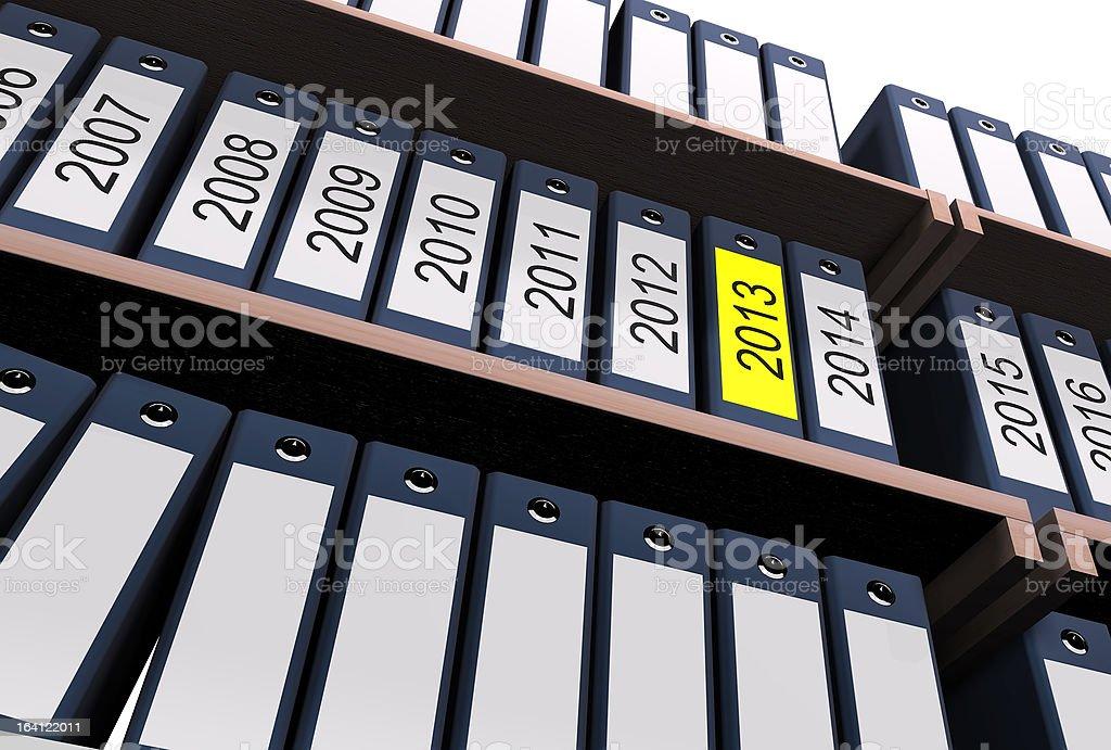 Shelf with document folders of 2013 royalty-free stock photo