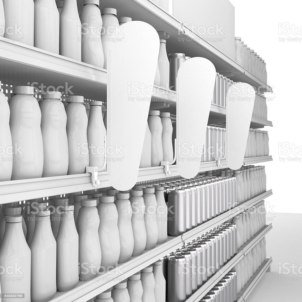 empty shelf with blank shelf-stopper in perspective