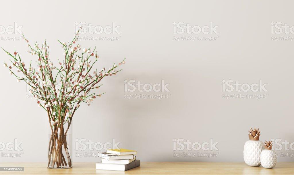 Étagère avec rendu 3d de branche fleur photo libre de droits