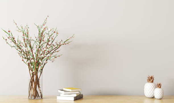 Shelf with flower branch 3d rendering stock photo