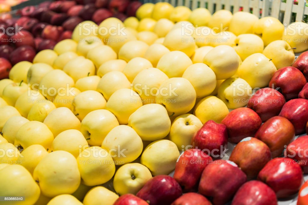 Shelf with fruits on a farm market stock photo
