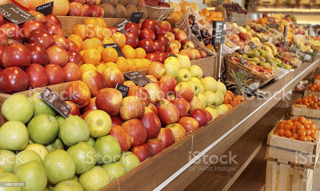 Shelf with fruits stock photo