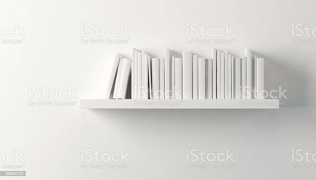 shelf with white books stock photo