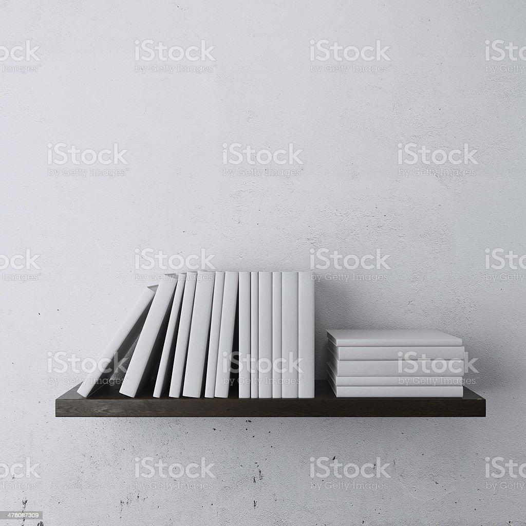 shelf with white books royalty-free stock photo