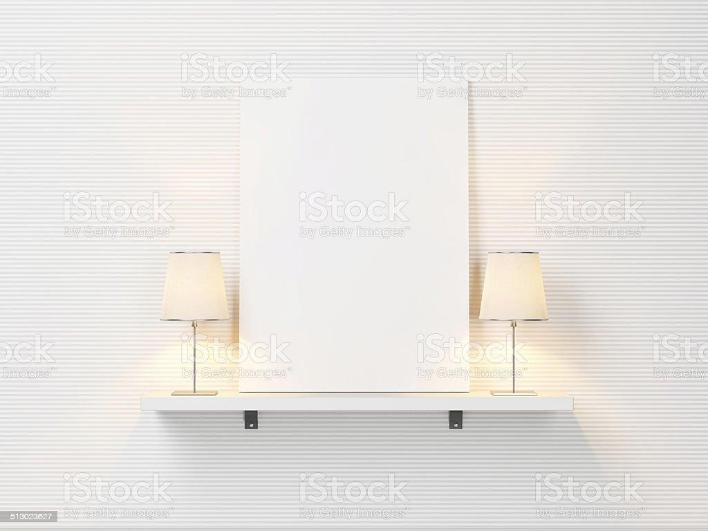 Półka Z Białym Plakat I Lampy Dwa Zdjęcia Stockowe I