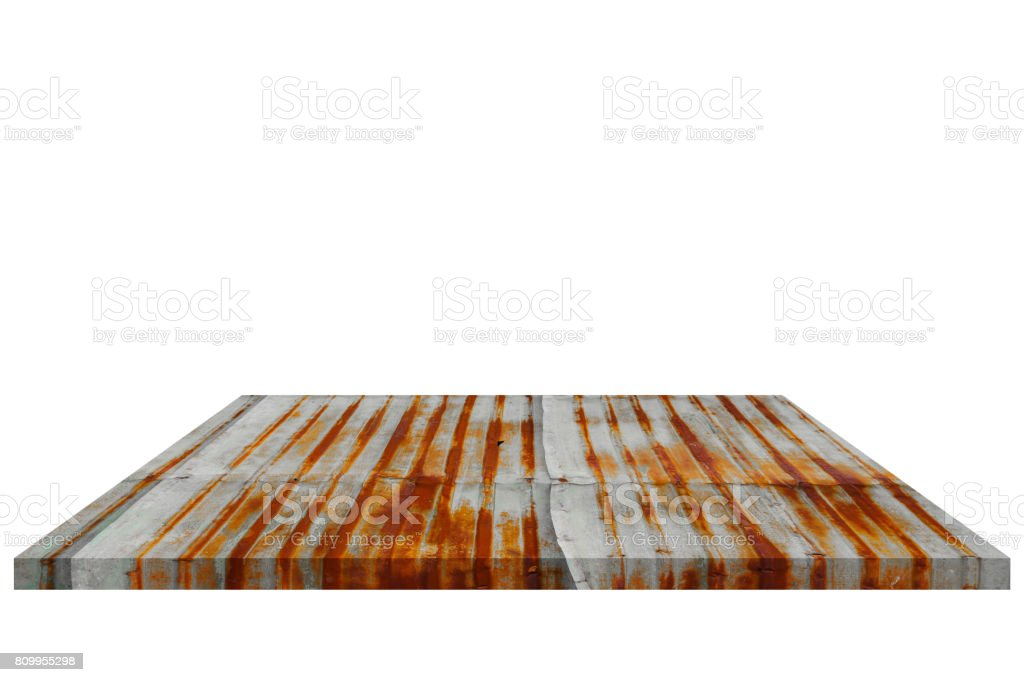 Shelf zinc old  Isolated on white background and Clipping path stock photo