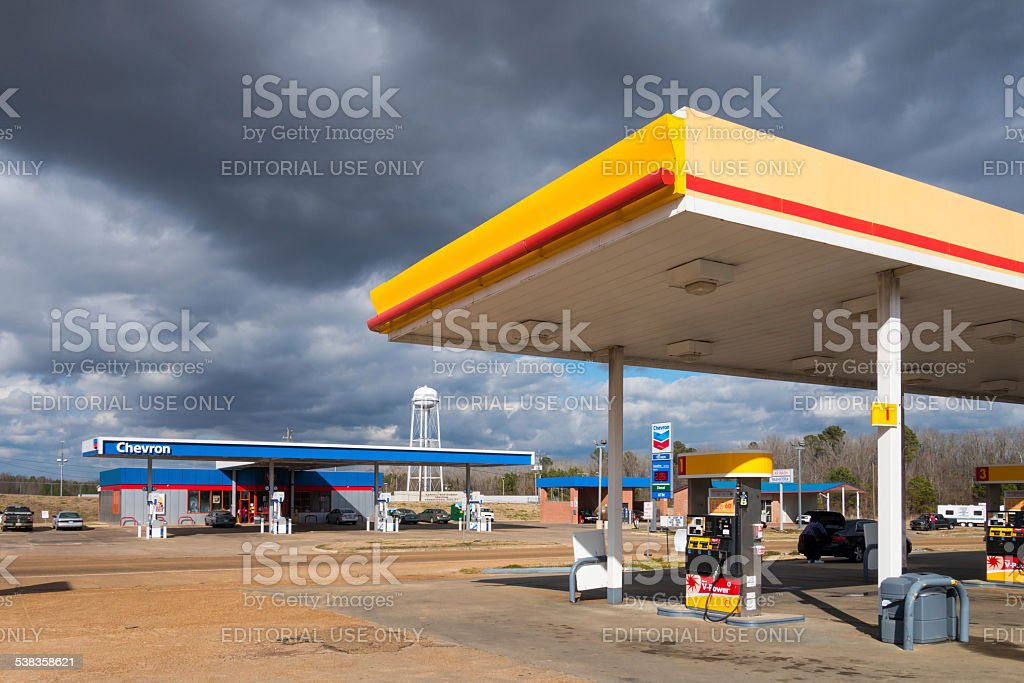 Shell and Chevron Gas Stations stock photo