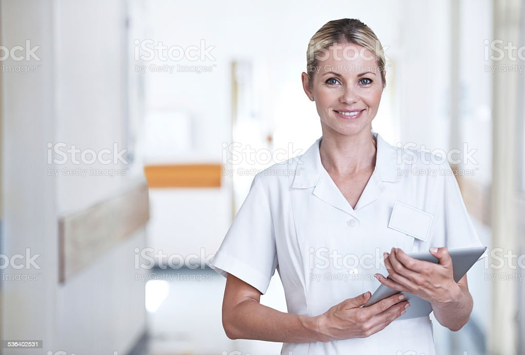 She'll be taking care of you stock photo
