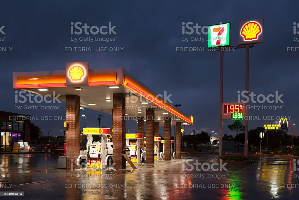 Shell Gas Station at night stock photo