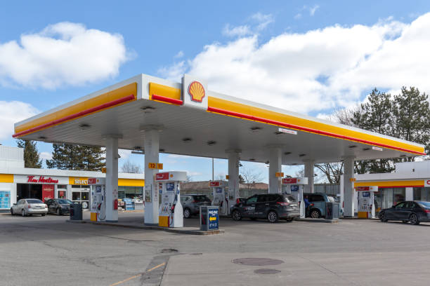 Shell gas station in Toronto, Canada stock photo