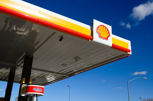 Laramie, Wyoming, USA - October 14, 2012: The Shell gas  station in Laramie Wyoming. Founded in 1907, Royal Dutch Shell, better known as just Shell, is a global energy company with 2011 revenues of over $470 billion.