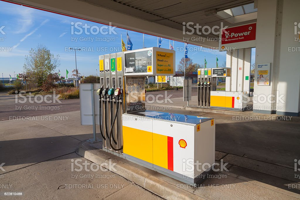 Shell gas station sign stock photo