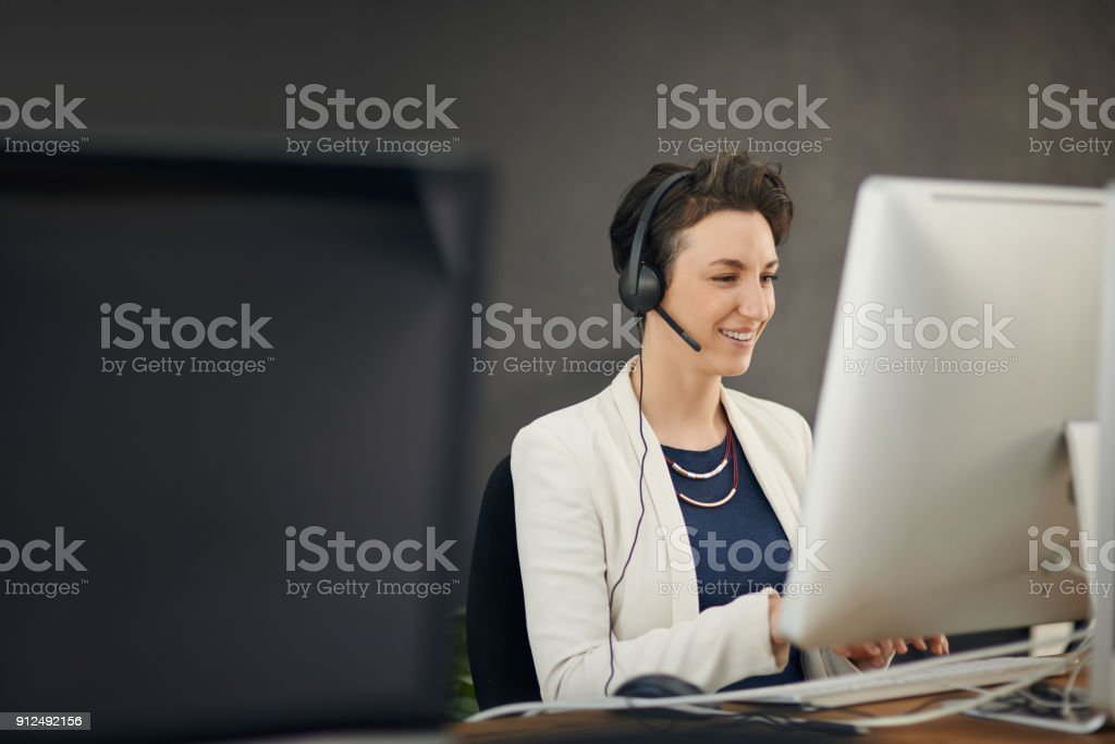 She'll go above and beyond for her customers stock photo