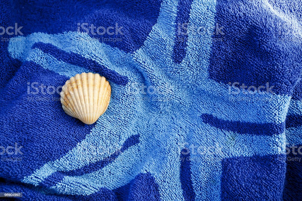 Shell on a towel. royalty-free stock photo
