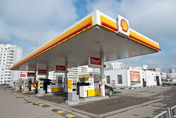 Shell petrol station in Moscow, Russia stock photo