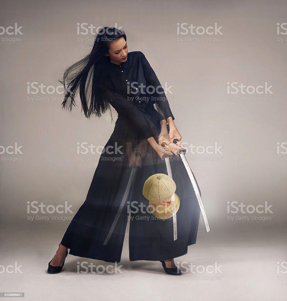 She'll slice you to pieces stock photo