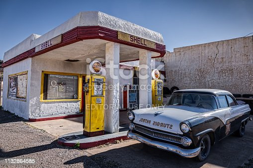 Lowell, Arizona / United States - November 25: 1955 Ford Fairlane Town Sedan police car parked at a Shell Station on November 25, 2018 in Lowell.