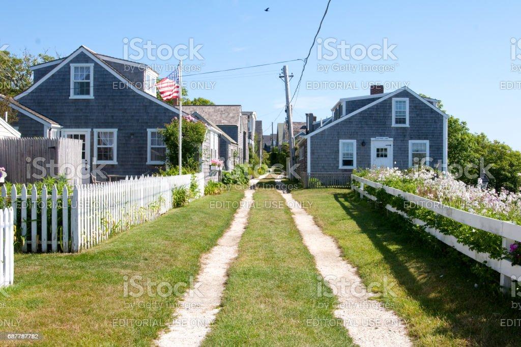 Shell street on Nantucket Island stock photo