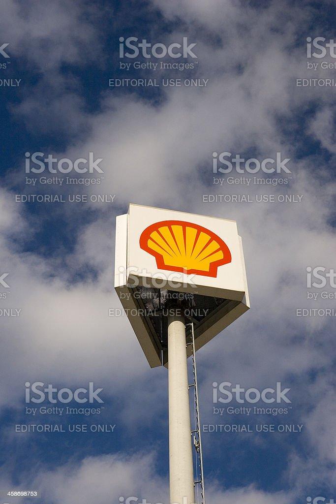 'Shell' Three-Way Sign stock photo