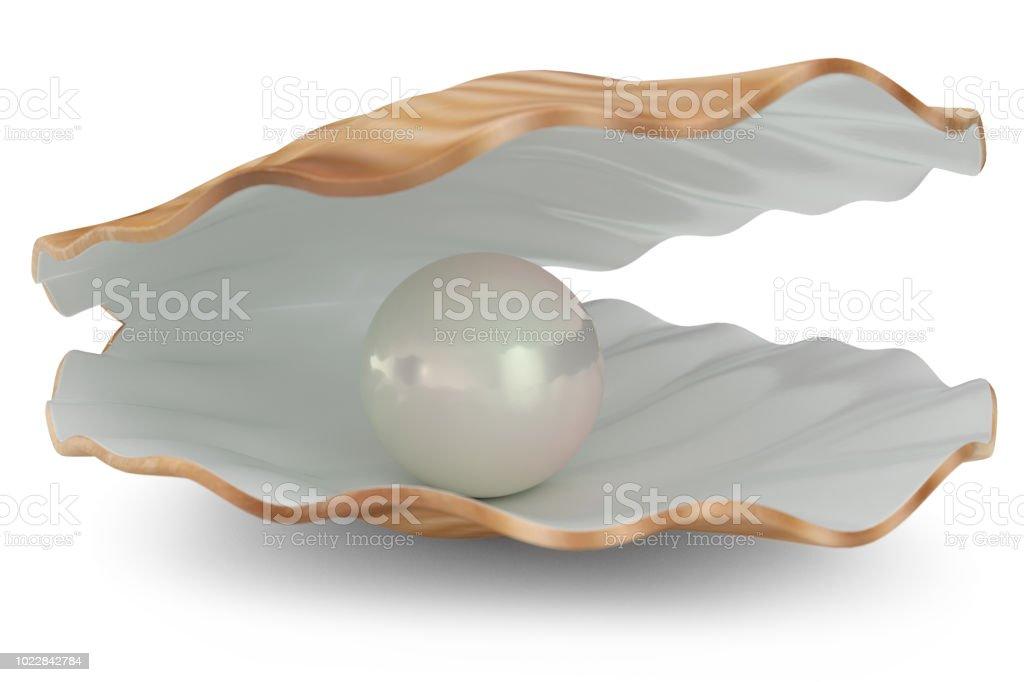 Concha con Perla interior. Natural abierto nácar. Ilustración 3D - foto de stock