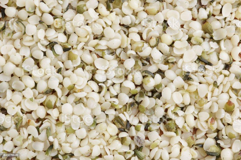 Shelled hemp seeds close up stock photo