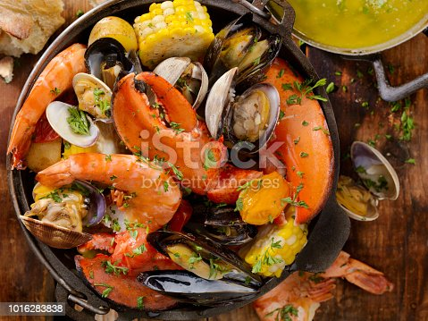 Shellfish Bake with Lobster, Tiger Prawns, Mussels, Clams and Vegetables