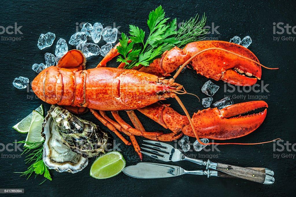 Shellfish plate of crustacean seafood stock photo