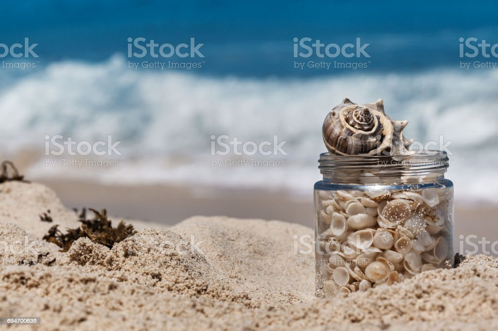 Shells in a glass jar on the sand beach in Cancun, Mexico stock photo