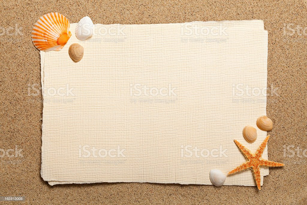 Shells, starfish and blank paper sheet royalty-free stock photo