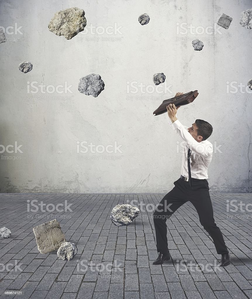 Shelter from the storm of crisis royalty-free stock photo