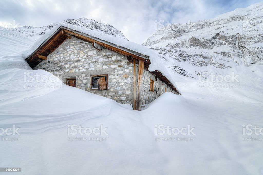 Shelter in the snow royalty-free stock photo