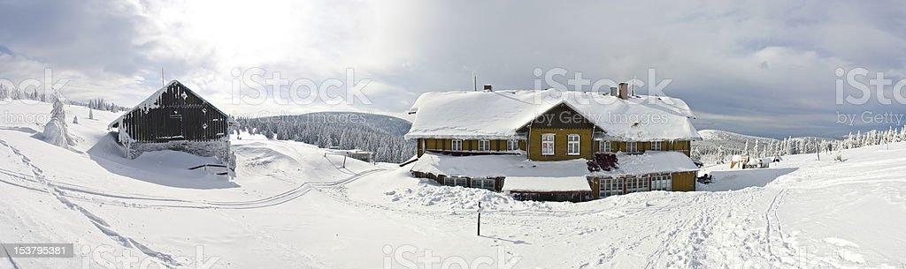 Shelter near the Snieznik mountain stock photo