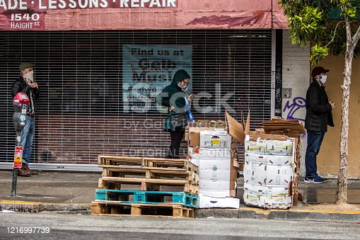 San Francisco, USA - April 4, 2020: People maintaining six feet distance while waiting to enter a corner market in the Haight-Ashbury district during COVID-19 pandemic.