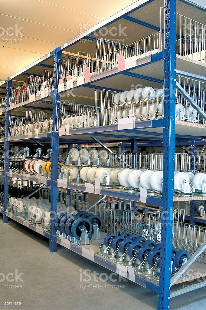 Shelves and racks in distribution storehouse interior. stock photo