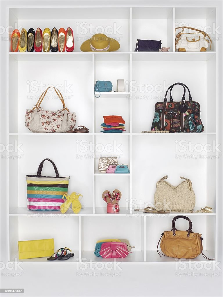 Shelves filled with women's accessories stock photo