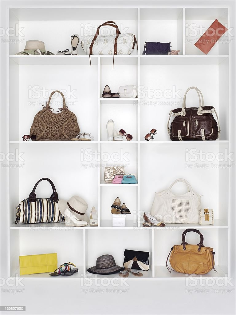 Shelves filled with women's accessories royalty-free stock photo