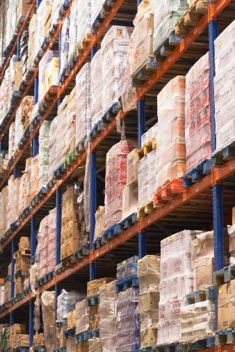Shelves Full Of Merchandise In Warehouse Stock Photo - Download Image Now