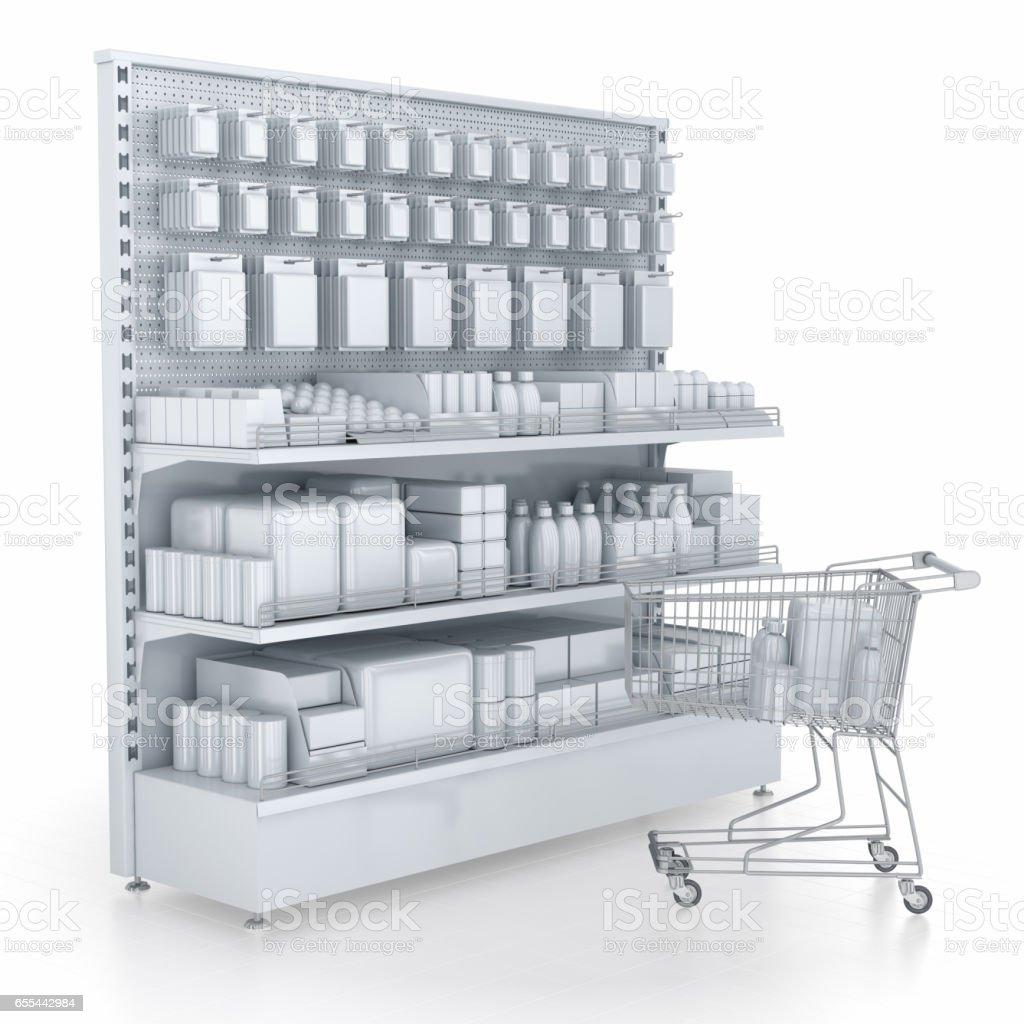 Estantes en un supermercado llenaron de mercancías withfaceless. Y un carrito de la compra. - foto de stock