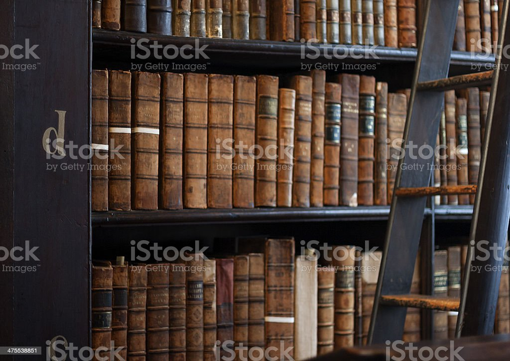 Shelves in The Long Room Trinity stock photo