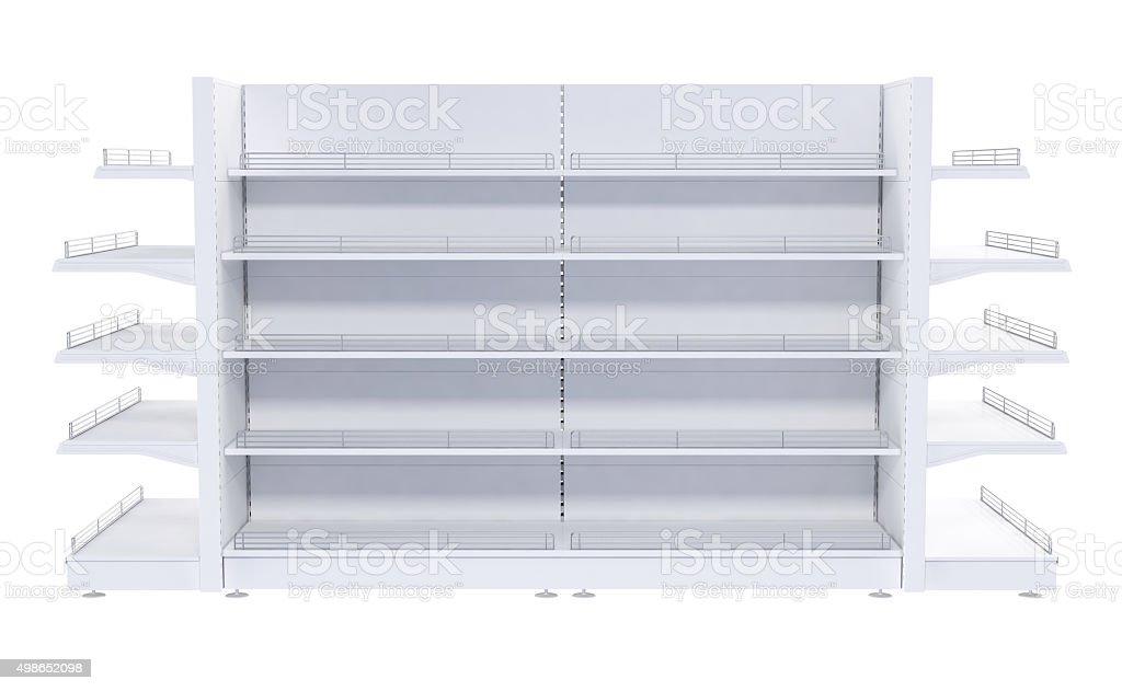 Shelves in the sales area. Isolated on white
